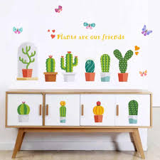 Cactus Flower Pot Wall Stickers For Living Room Bed Room Classroom Bathroom Wall Decor Removable Vinyl Art Mural Decals Dc18