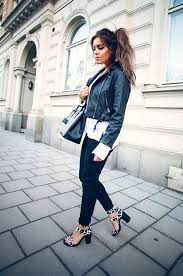 how to style a black and white outfit lyckman is wearing a minusey leather