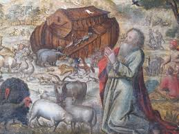 stunning and incredibly rare oil on canvas allegorical painting of noah s ark