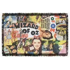 the wizard of oz collage woven throw white 48x80 collage fleece blanket