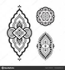 Henna Tetování šablona Květina Mehndi Styl Sada Ozdobných Vzorů V