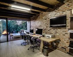 contemporary home office furniture tv. Architecture, Home Office Modern House Design With Exposed Brick Wall Mounted TV Wooden Desk Contemporary Furniture Tv N