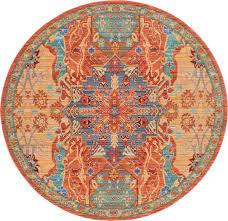 peach 6u0027 x 6u0027 aqua round rug area rugs erugs