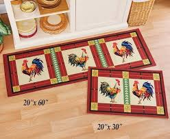 details about french country en rooster kitchen home floor area runner rugs door mat set