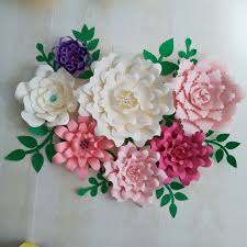 Paper Flower Wedding Centerpieces Us 44 8 20 Off 2018 Paper Flower Backdrop Giant Paper Flowers 7pcs Leaves 10pcs Wedding Centerpiece Baby Nursery With Video Tutorials In