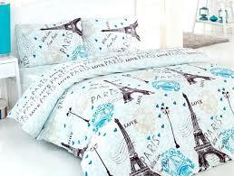 100 cotton 4 pcs turquoise paris eiffel tower queen double bedding duvet cover garden dream quilt