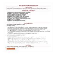 Post Production Engineer Resume Great Sample Resume