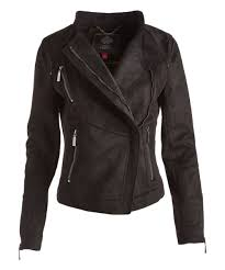 all gone black asymmetrical zip faux suede moto jacket