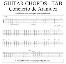 Guitar Tab Chart Pdf Concerto De Aranjuez Chords Tab For Guitar Santi Spanish