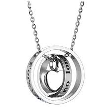 jovivi free engraving personalized custom cremation necklace dual ring no longer by my side forever in my heart urn necklaces for ashes memorial keepsake