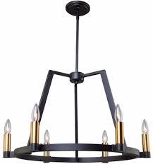artcraft ac11126 regent modern black satin brass chandelier lamp