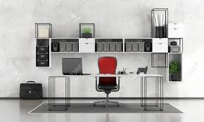 minimalist office chair. Black And White Minimalist Office With Desk,chair Bookcase - 3d Rendering Stock Photo Chair N