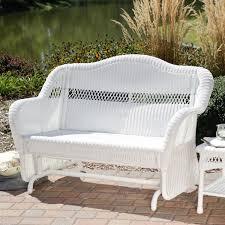 patio glider chair resin wicker white resin wicker outdoor  seat loveseat glider bench patio armchair