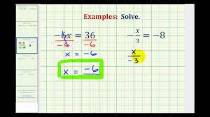 ex solving one step equation by mult div integers var on left