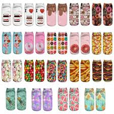 Women Girls Fruit Snacks <b>Donut</b> Print 3D Short Ankle Socks ...