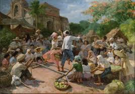 tinikling in barrio 1951 oil on canvas by fernando amorsolo
