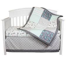 the peanut shell crib bedding set grey and aqua uptown giraffe 4 piece baby bedding collection com