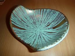 Turquoise Decorative Bowl Aqua Atomic Dish Turquoise Gold Space Age W Germany Pottery 58