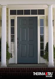 6 panel painted fiberglass entry door