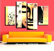 set of 4 wall art piece canvas metal poppy painting