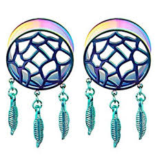 Dream Catcher Tunnels 100Pair Rainbow Retro Dream Catcher Feathers Dangle Ear Plug Flesh 64