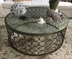 arhaus naomi round coffee table 40d glass top brass chain link 1500 retail