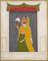 mewar rajput miniature lady with a lotus opaque watercolor on paper 18th c rajasthan india since the 17th c mewar painting was characterized by great