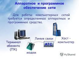 Презентация на тему Аппаратное и программное обеспечение сети  1 Аппаратное и программное обеспечение сети Для работы компьютерных