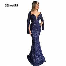 Elegant Long Gown Design 2018 Special Design Long Sleeves With Slit Mermaid Prom Dress