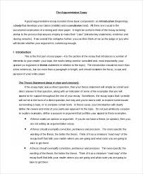 Example Of An Argumentative Essay 9 Argumentative Essay Samples Examples Templates