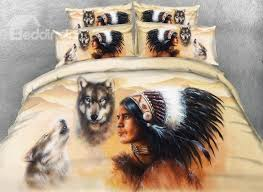 81 3d wolf and american indian chief print 5 piece comforter sets