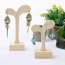unpainted wood jewellery display stand wood earring holder show shelf rack