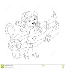 Small Picture Coloring Page Outline Of Cartoon Girl Singing A Song Stock Vector