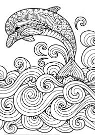 Zentangle Dolphin With Scrolling Sea Wave Coloring Page Free