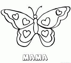 Mama Vlinder Hartjes Naam Kleurplaat