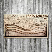 Santa Barbara Ca Wood Map 3d Nautical Wooden Chart