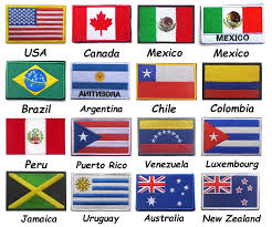 America USA Canada Mexico Colombia Argentina Australia Chile Jamaica New  Zealand Luxembourg Peru Puerto Rico Uruguay Flag Patch|Badges