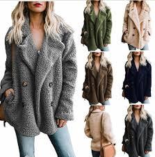<b>2018</b> Women <b>Winter</b> Coat <b>Turn</b> Down Collar Buttoned Pockets Fluffy ...