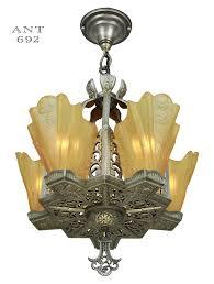 description ant 692 art deco slip shade chandelier this wonderful and uncommon antique finish