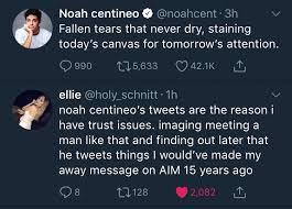 Noah centineo has experienced an upswing in fame thanks to movies like to all the boys i've loved before. and then there's noah centineo: Ellie Schnitt On Twitter Noah Centineo S Tweets Are The Reason I Have Trust Issues Imaging Meeting A Man Like That And Finding Out Later That He Tweets Things I Would Ve Made My