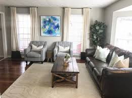 Light Blue And Brown Decor Living Room With Diy Canvas Art Brown Couch With Light Blue