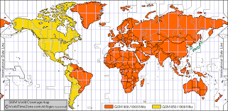 Cellular Frequency Chart Gsm World Coverage Map Gsm Country List By Frequency Bands