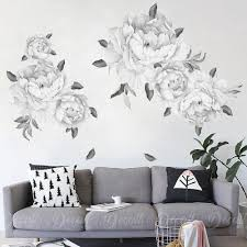 black white peony flower wall decals fl stickers reusable flowers sticker vintage watercolor l and stick graphics self adhesive decor large vinyl