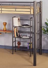 siver metal contemporary twin loft bed w desk bookcase