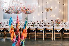 giant confetti filled wedding balloons with colourful tissue tels
