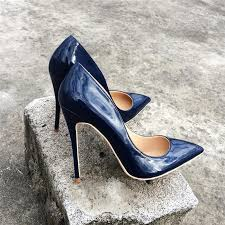 lady women woman 2018 new navy blue patent leather high heels shoes sti heels poined toes wedding heeled shoes pump 12cm munro shoes vegan shoes from