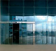 entry door sliding glass for public buildings clamp