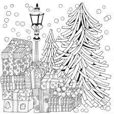 冬大人ぬりえ本ランタンは夜に輝きますクリスマス ツリーとプレゼント
