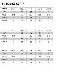 Bcbg Size Chart Sizing Chart In 2019 Flippy Skirts