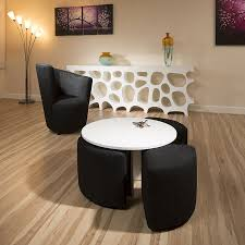 modern white round coffee table with 4 black cushioned stools new joy